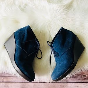 Cole Haan Suede Leather Wedges Booties Shoes Sz 9